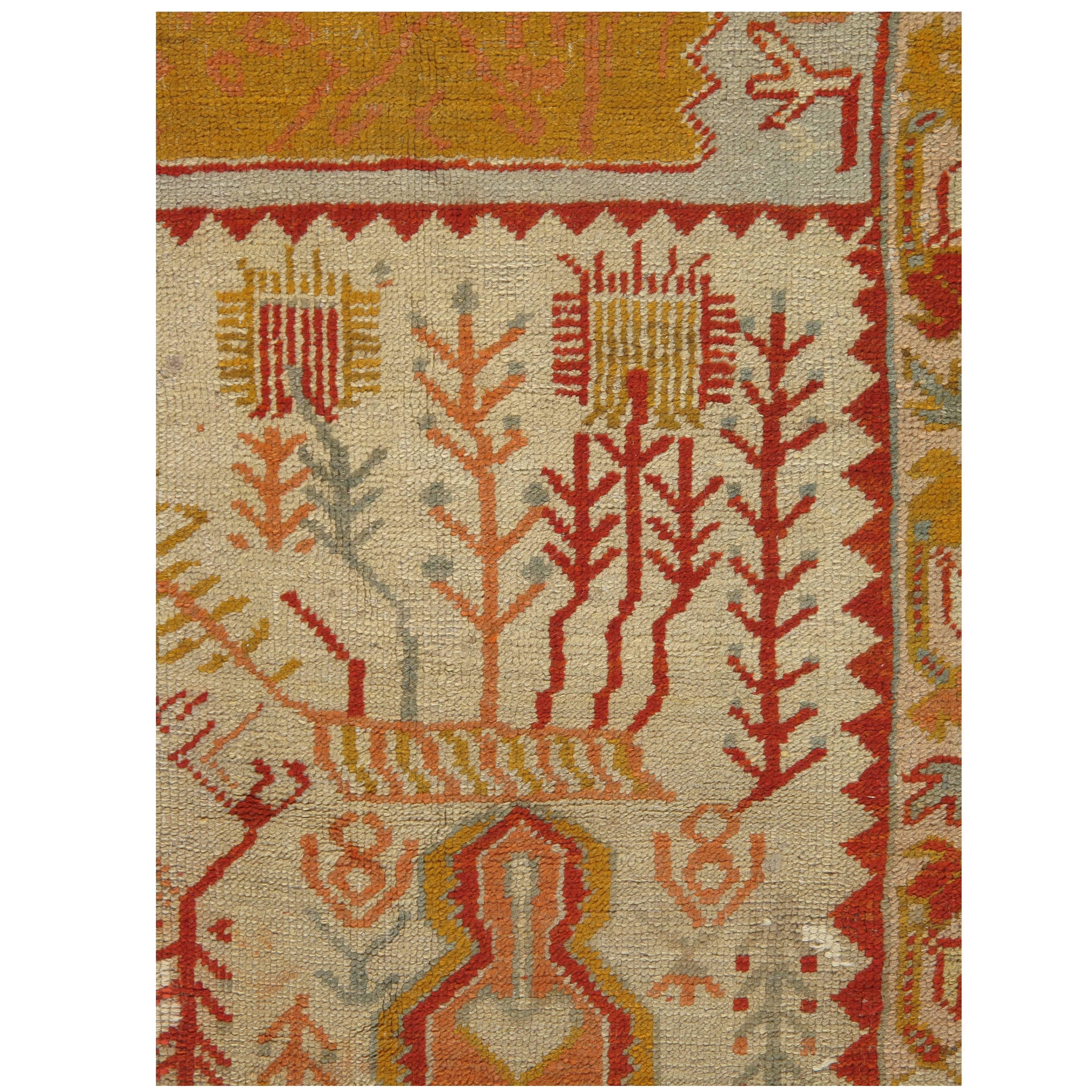 Palace Size Antique Oushak Carpet Turkish Handmade Oriental Rug