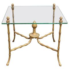 Gilded Faux Bamboo Brass And Glass Accent Table
