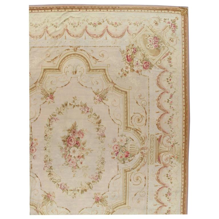 Antique French Aubusson Carpet, Fine Pale Pink, Rose, Taupe, Elegant Carpet