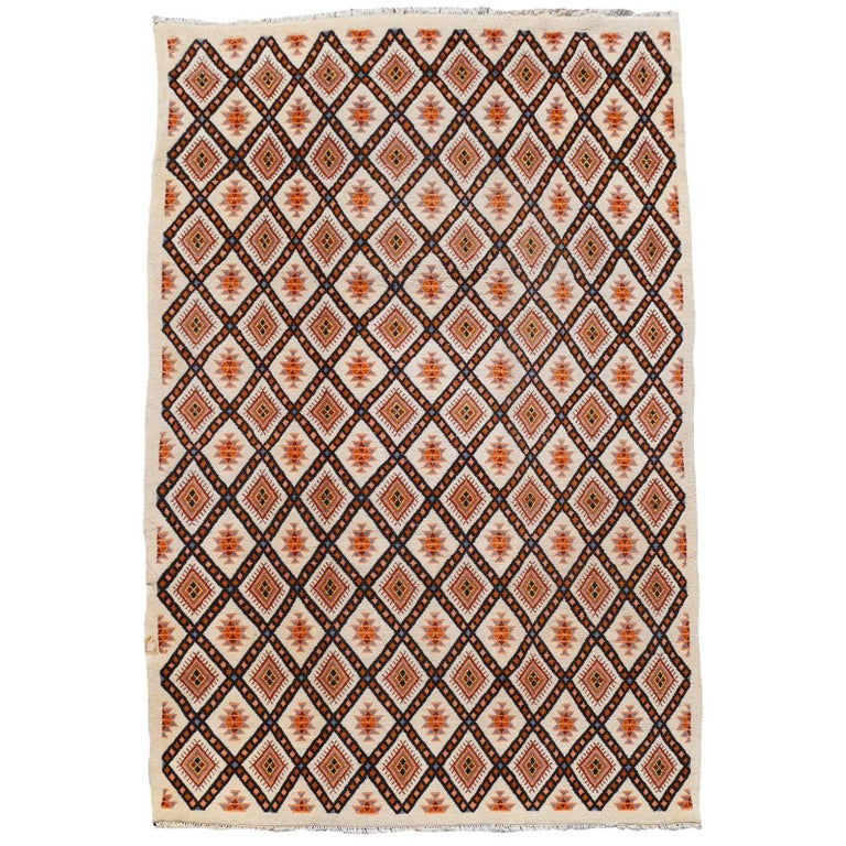 North African Tribal Berber Rug with Diamond Design For Sale