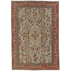 Antique Oushak Carpet, Handmade Oriental Rug, Pale blue, Coral Taupe, Cream Fine
