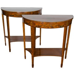 Pair of 19th Century Satinwood Console Tables