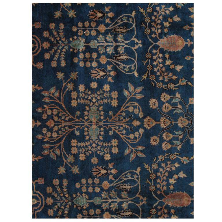 Antique Indian Agra Carpet Handmade Oriental Rug Blue Gold Ivory