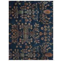 Antique Indian Agra Carpet, Handmade Oriental Rug, Blue, Gold, Ivory, Allover