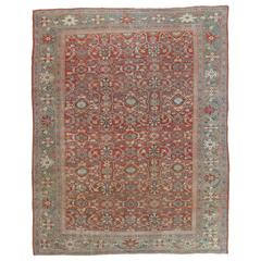 Antique Persian Sultanabad Carpet, Handmade Oriental Rug, Light Blue, Red, Green
