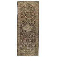 Antique Persian Malayer Carpet, Handmade Oriental Rug, Ivory, Taupe, Brown, Fine