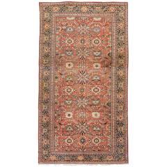 Antique Persian Sultanabad Carpet, Handmade Oriental Rug, Navy Blue, Terracotta