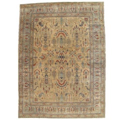 Antique Tabriz Persian Carpet, Handmade Oriental Rug, Gold, Ivory, Light Blue