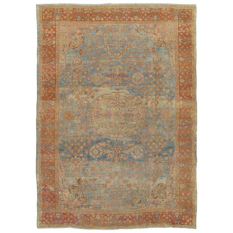Antique Sultanabad Carpet, Handmade Oriental Rug, Light