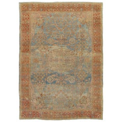 Antique Sultanabad Carpet, Handmade Oriental Rug, Light Blue Wool Persian Carpet