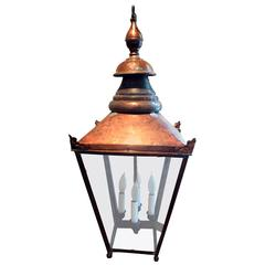 Large Electrified English Copper Street Lantern