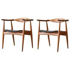 Two Hans Wegner CH 35 Carl Hansen & Søn Oak Armchairs Vintage Danish Modern