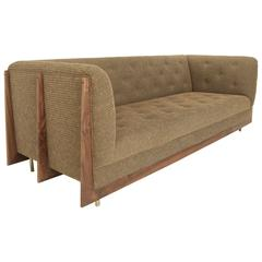 Hannah Sofa with Walnut Spines and Bronze Legs by Thomas Hayes Studio