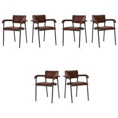 Jacques Quinet, Set of Six Dining Armchairs, France, circa 1960