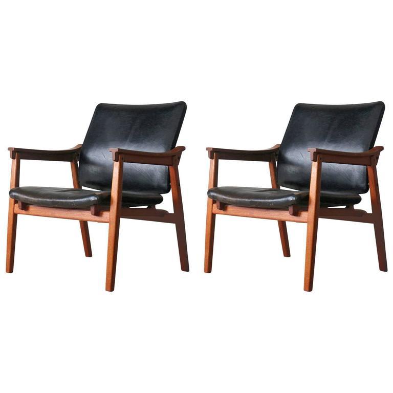 Tove U0026 Edvard Kindt Larsen Danish Vintage Teak Easy Chairs By Thorald  Madsens 1