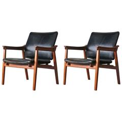 Tove & Edvard Kindt-Larsen Danish Vintage Teak Easy Chairs by Thorald Madsens