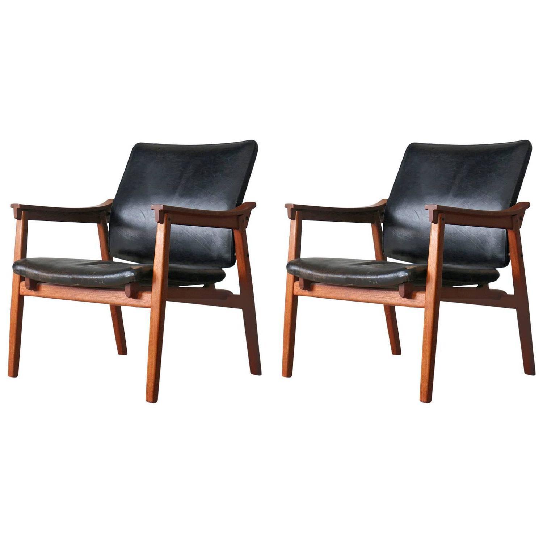 Tove and Edvard KindtLarsen Danish Vintage Teak Easy Chairs by