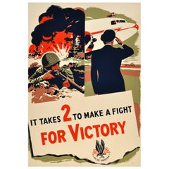 Original Ww2 American Airlines Poster, It Takes 2 to Make a Fight for Victory