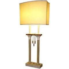 MidCentury Monumental 1950s Parzinger Style Modernist White Columnar Lamp