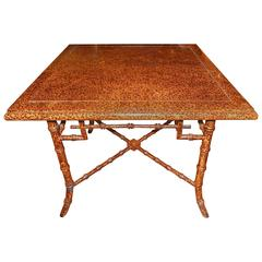 Outstanding Faux Finished Tortoise Shell and Bamboo Table