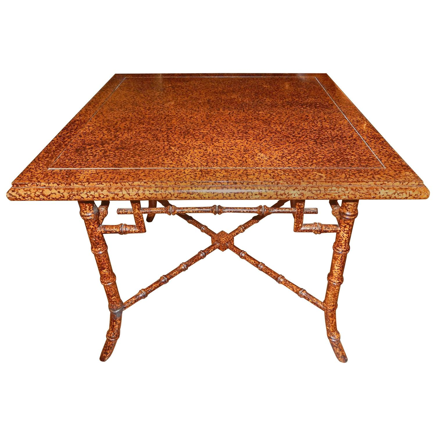 Anglo Indian Faux Finished Tortoise Shell And Bamboo Table