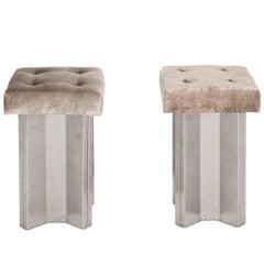 Aluminum Stools by Maison Jansen