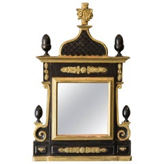 Antique Danish Neoclassical Gilded and Painted Mirror, circa 1860