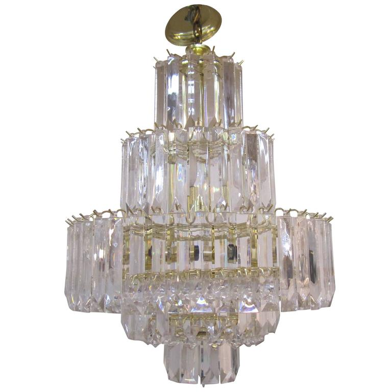 1960s Modern Lucite Chandelier in the Style of Charles Hollis Jones