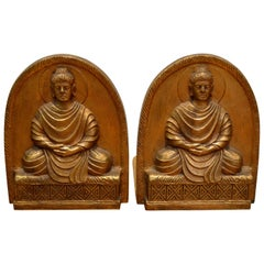 Tiffany Studios Cast Bronze Buddha Bookends, Art Nouveau