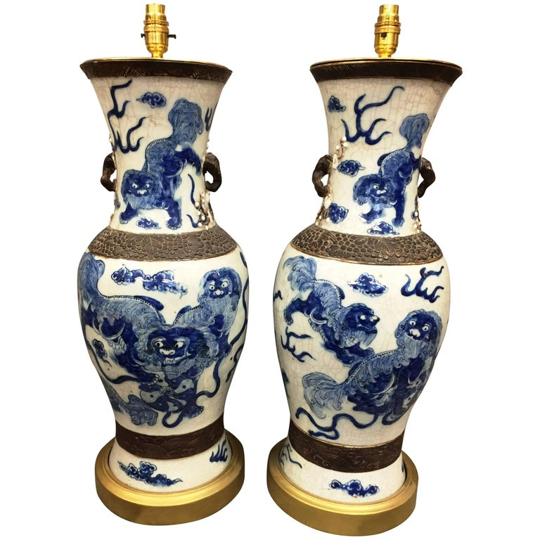 Pair of Turn of the Century, Chinese Blue and White Vases Turned Lamps