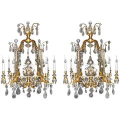 A Pair of Fine Louis XVI Style Gilt and Cut Rock Crystal Bagues Style Chandelier