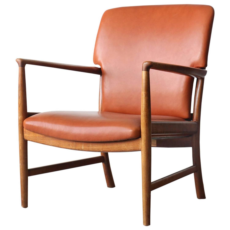 Jacob Kj¦r Rare Vintage Danish Modern Cherry Wood Leather Easy