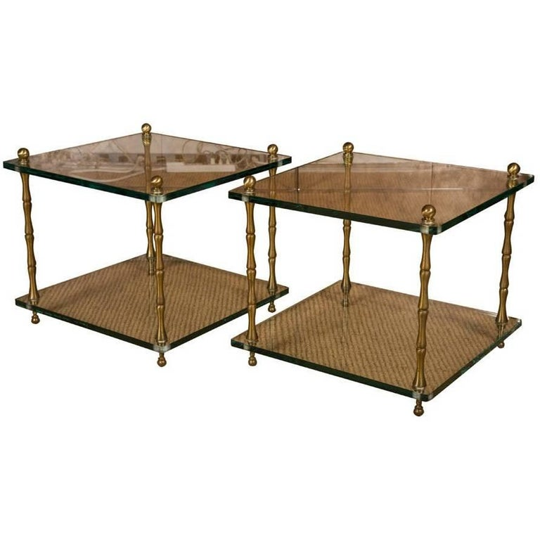 Pair of Glass and Brass Faux Bamboo Occasional Tables