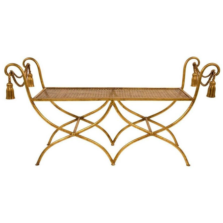 Excellent Glamourous Italian Gilt Iron Rope And Tassel Boudoir Bench Frankydiablos Diy Chair Ideas Frankydiabloscom