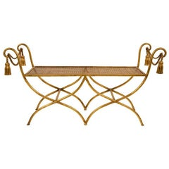 Glamourous Italian Gilt Iron Rope and Tassel Boudoir Bench