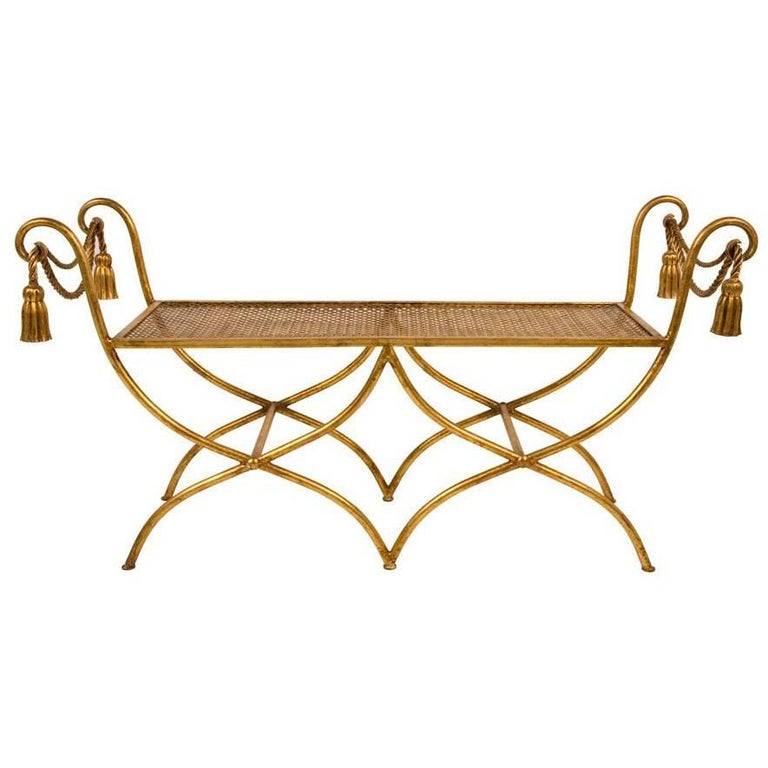 Glamourous Italian Gilt Iron Rope and Tassel Boudoir Bench 1
