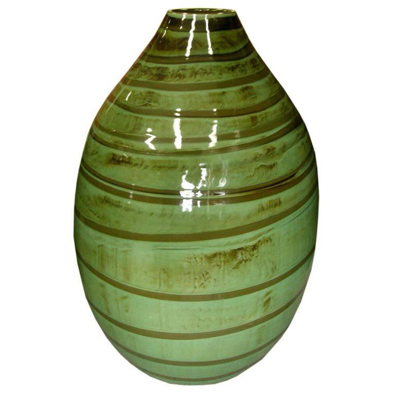 Thai Contemporary Artisan Made Ceramic Vase with Swirled Green and Brown Glaze