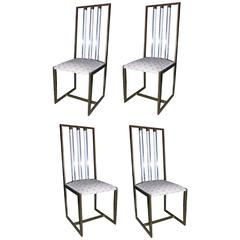 Set of Four Bronze and Lucite Side Chairs by Paco Rabanne