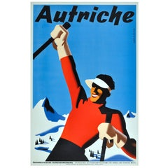 Original Vintage Winter Sport Skiing Poster For Autriche Austria Skier Mountains