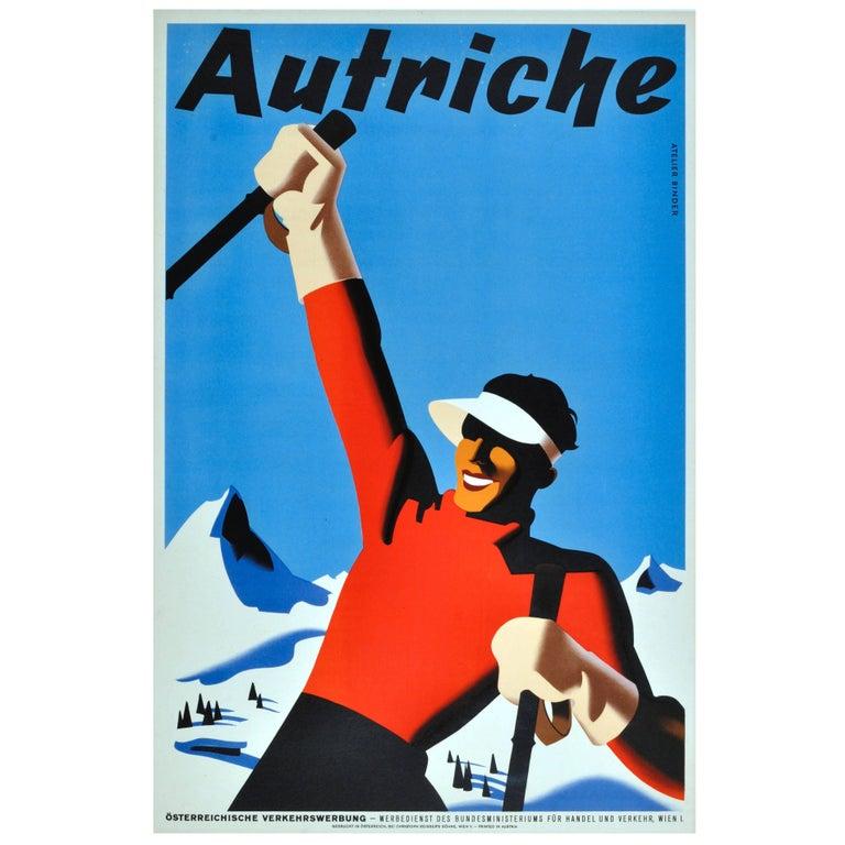 Original Vintage Winter Sport Skiing Poster For Autriche Austria Skier Mountains For Sale