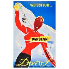 Original Vintage 1938 Ski Resort Poster by Martin Peikert for Davos Switzerland