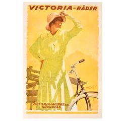 """Original Vintage 1921 Bicycle Advertising Poster by Engelhard """"Victoria Rader"""""""