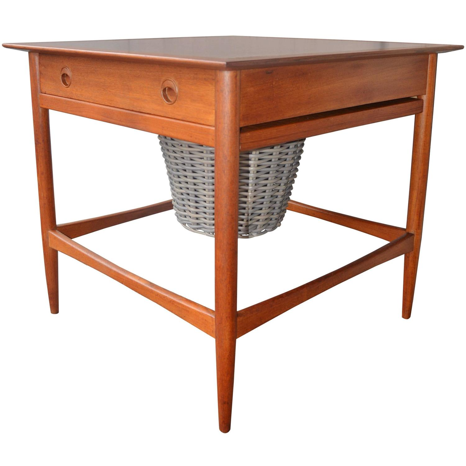 Danish teak craft sewing table cabinet for sale at 1stdibs for Craft cupboard with table