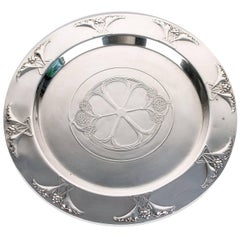 WMF Jugendstil Silver Plate Tray or Plate with Gingko Leaf Flower