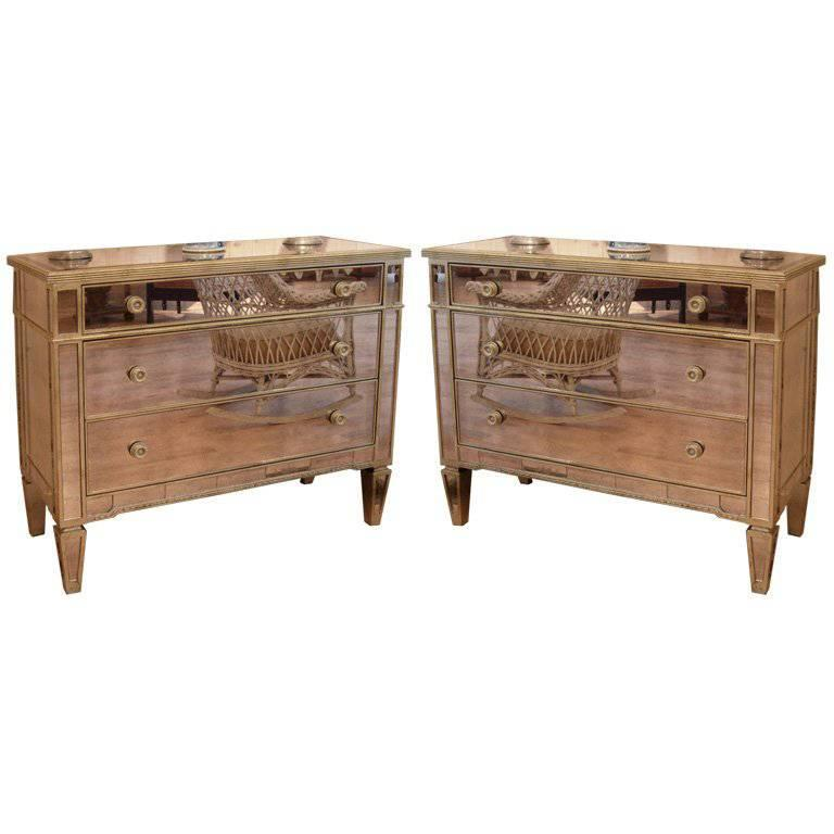Pair of 1940s Style Mirrored Silver Leaf Commodes For Sale