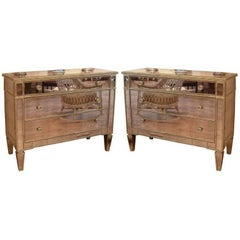 Pair of 1940s Style Mirrored Silver Leaf Commodes