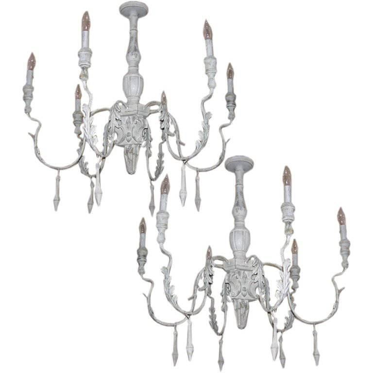 Pair of Italian Style Carved Wood and Tole Chandeliers