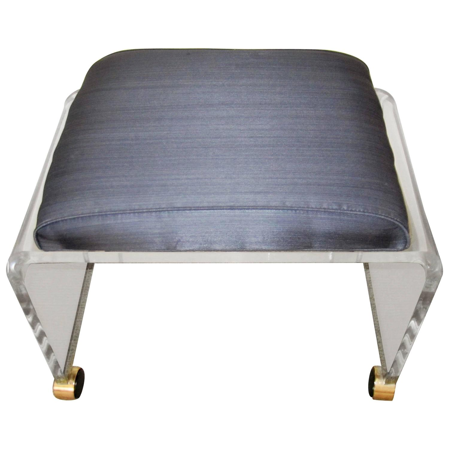 Lucite And Brass Vanity Bench With Upholstered Cushion At