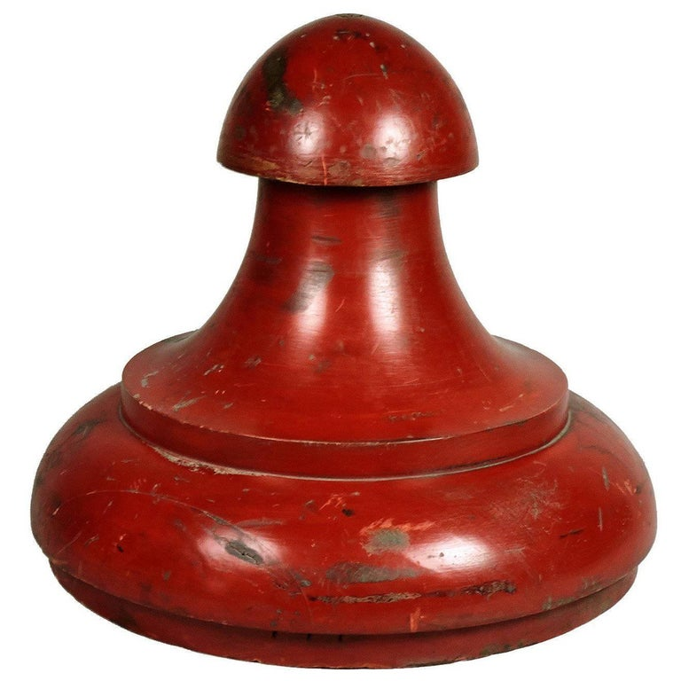Unusual Industrial Red Painted Wooden Mold with Folk Art Quality