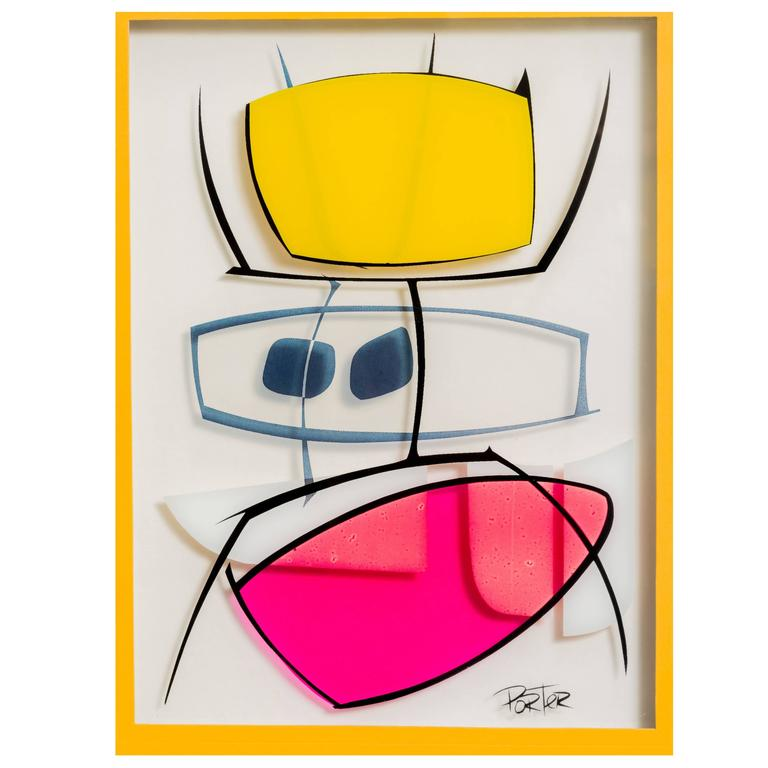 Modernist Serigraph on Glass For Sale